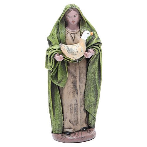 Statua presepe Donna con oca 17 cm terracotta 1