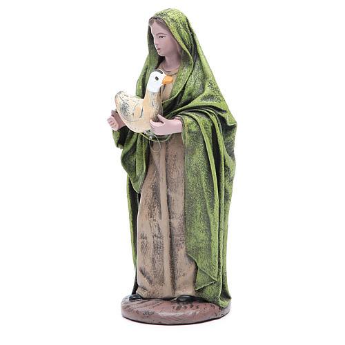 Statua presepe Donna con oca 17 cm terracotta 2