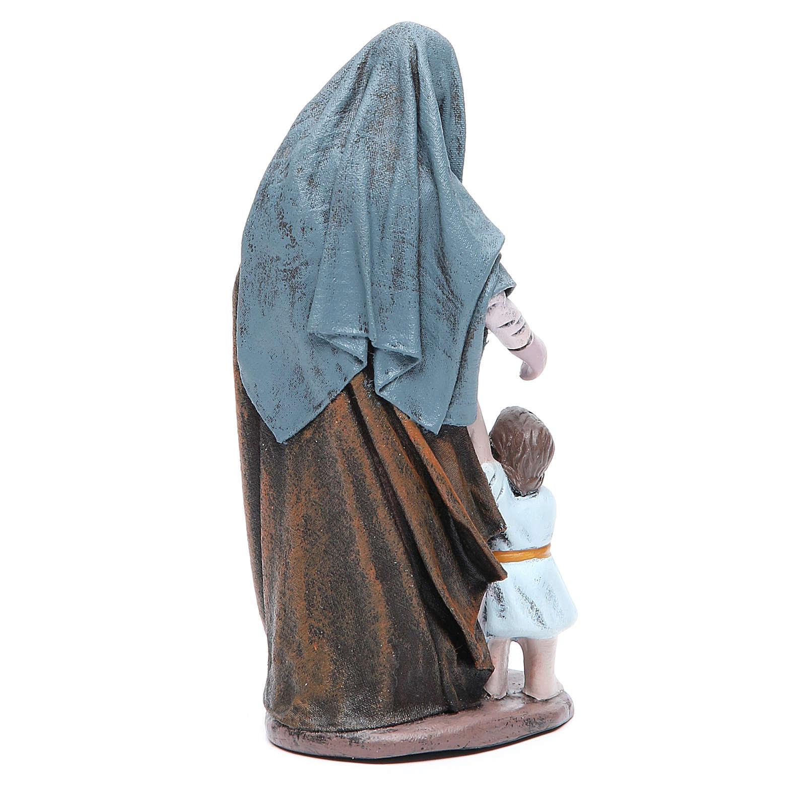Statue crèche femme avec petite fille terre cuite 17 cm 3