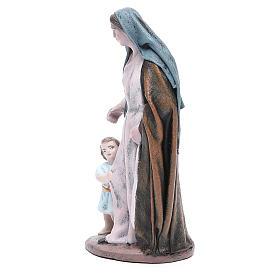 Statue crèche femme avec petite fille terre cuite 17 cm s2