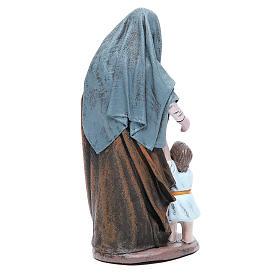 Statue crèche femme avec petite fille terre cuite 17 cm s3