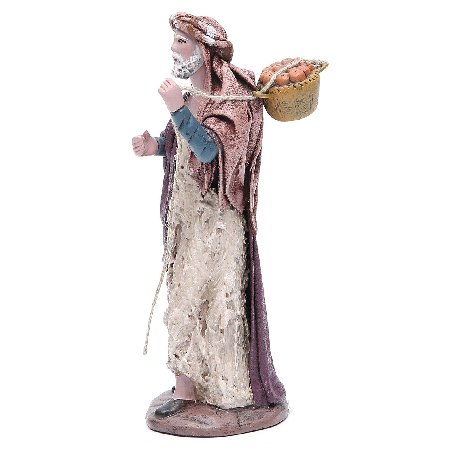 Pastore con cesta presepe terracotta 17 cm 3