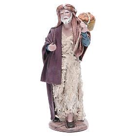 Pastore con cesta presepe terracotta 17 cm s1