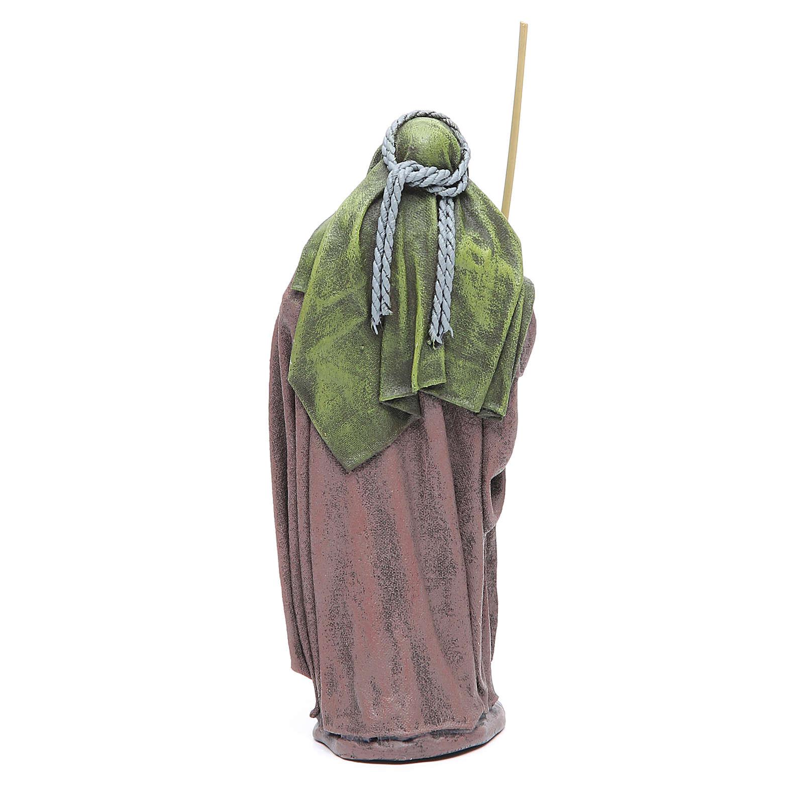 Pastore con bisaccia terracotta presepe 17 cm 3