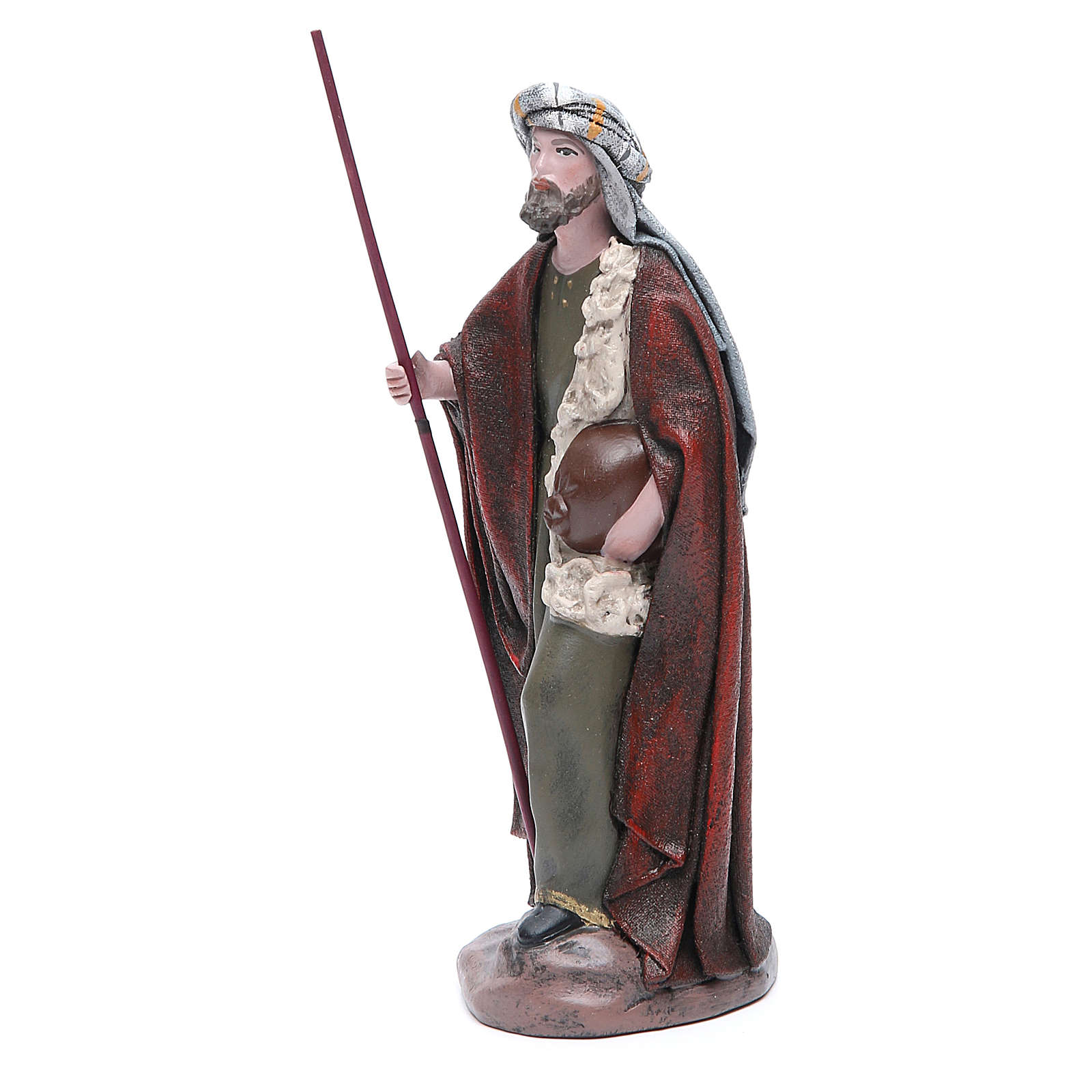 Pastore Viandante in terracotta presepe 17 cm 3