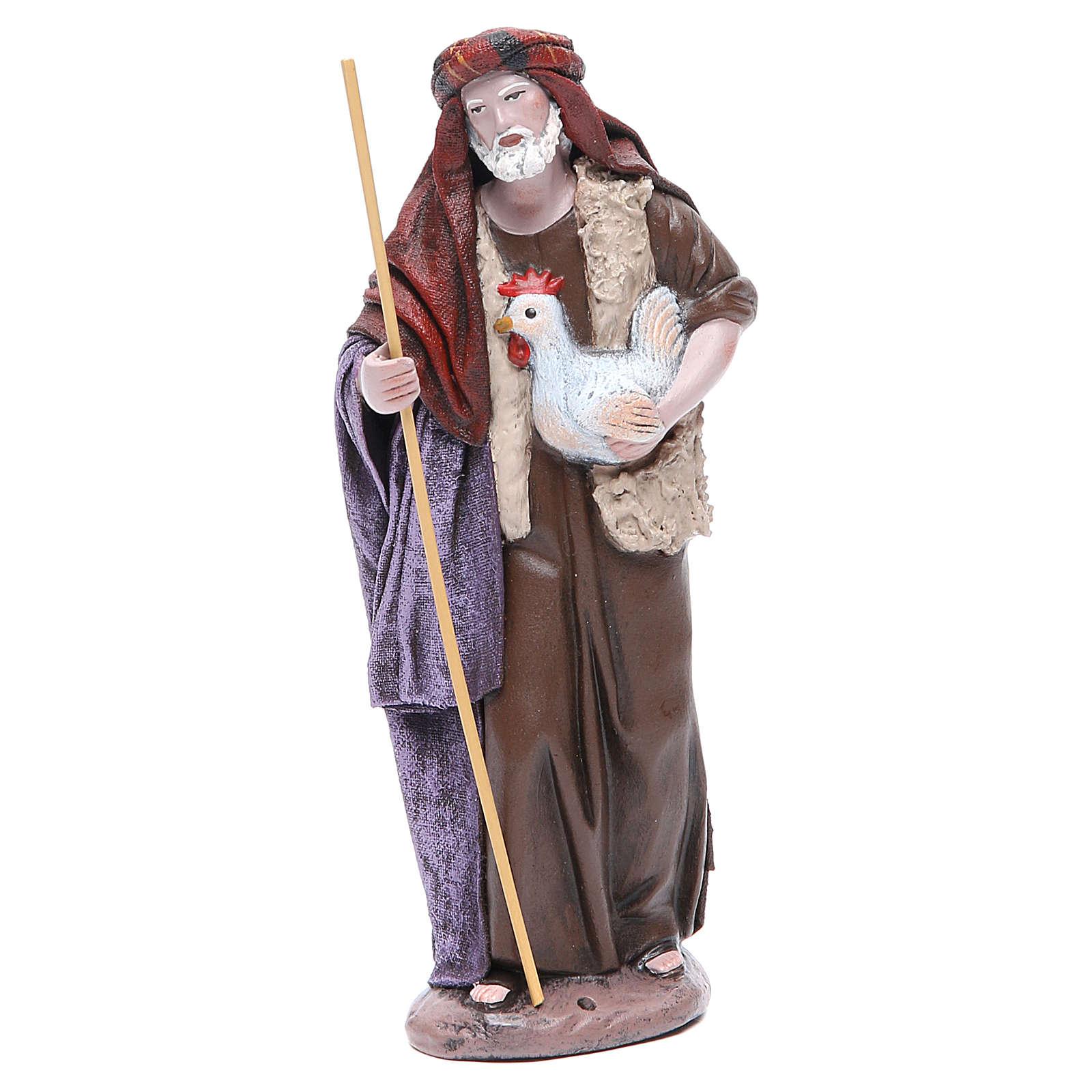Pastore con gallina Presepe terracotta 17 cm 3