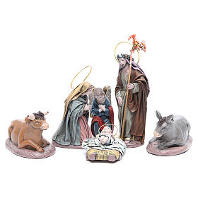 Natividad 6 sujetos en terracota y tela 17 cm s1