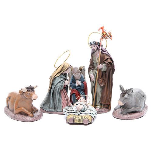 Natividad 6 sujetos en terracota y tela 17 cm 1