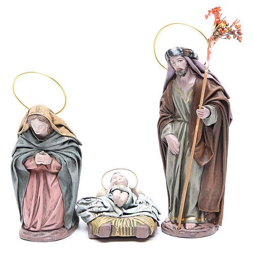 Natividad 6 sujetos en terracota y tela 17 cm 2