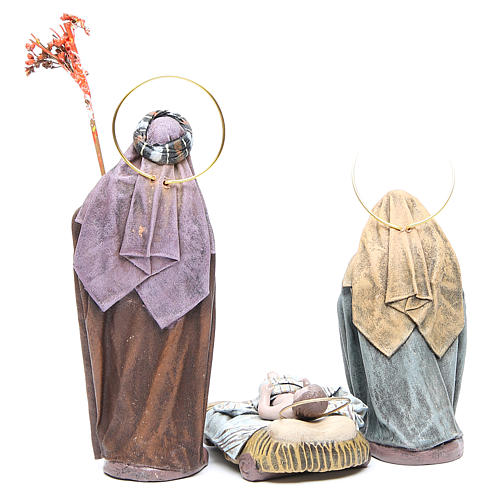 Natividad 6 sujetos en terracota y tela 17 cm 3