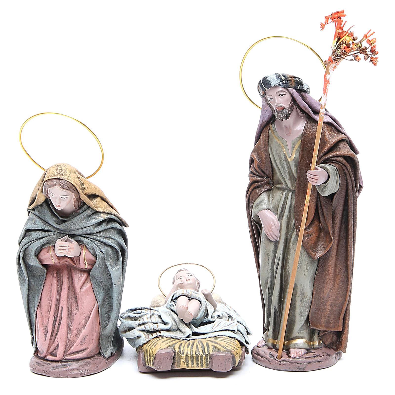 Nativité 6 santons en terre cuite et tissu 17 cm 3