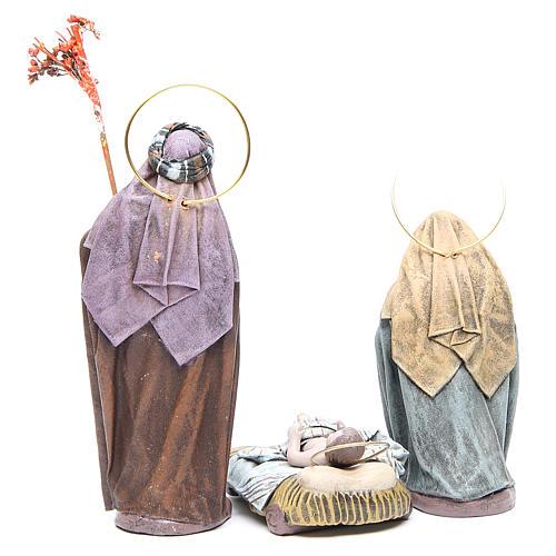 Natività 6 soggetti in terracotta e stoffa 17 cm 3
