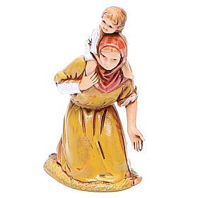 Belén Moranduzzo: Mujer en adoración y niño 6,5 cm Moranduzzo en trajes de época