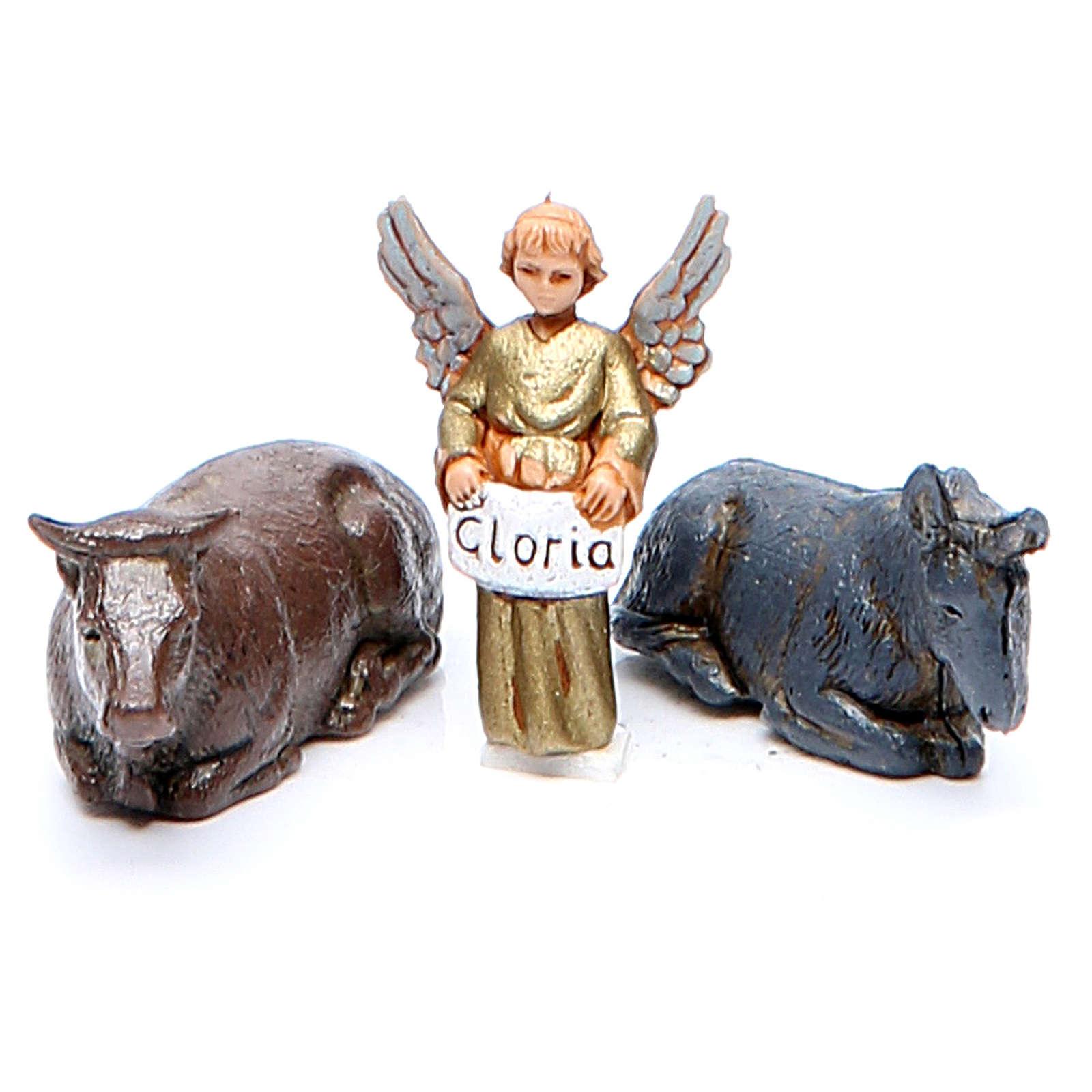 Donkey, ox and angel 3.5cm by Moranduzzo, 3 figurines 4