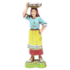 Woman with basket on head, classic style for nativities of 10cm by Moranduzzo s1