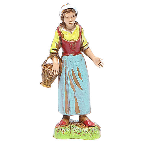 Shepherdess with basket, classic style for nativities of 10cm by Moranduzzo 1