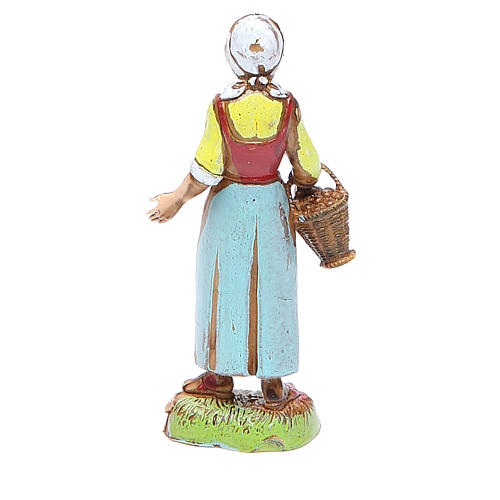 Shepherdess with basket, classic style for nativities of 10cm by Moranduzzo 2