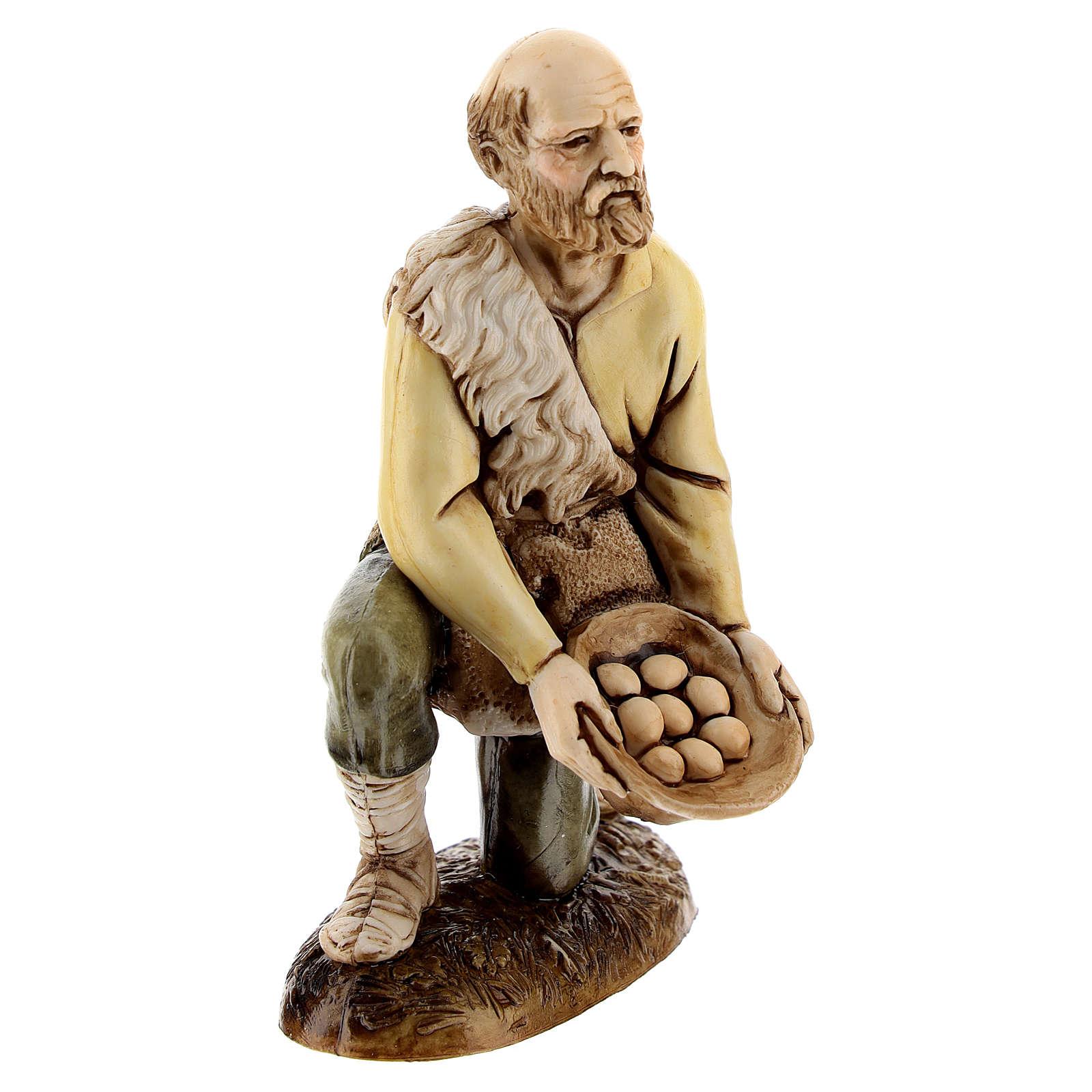 Figura pastor con huevos 12 cm belén Moranduzzo estilo clásico 4