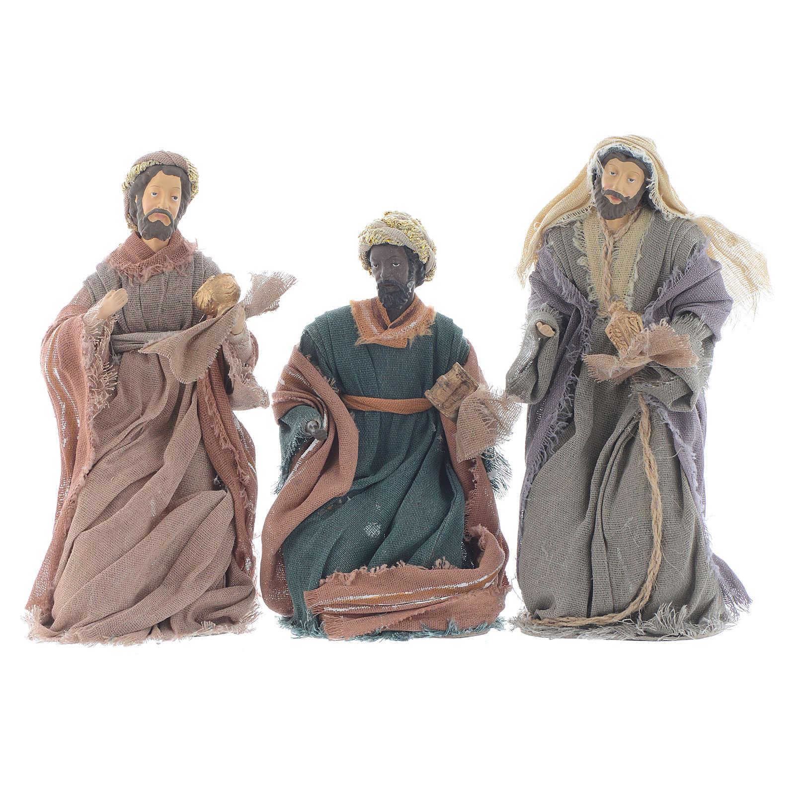 Reyes Magos 20 cm resina y gasa marrón 3