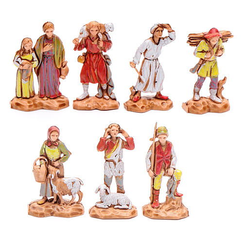 Assorted shepherds figurines, 7 pieces for nativities measuring 3.5cm 1