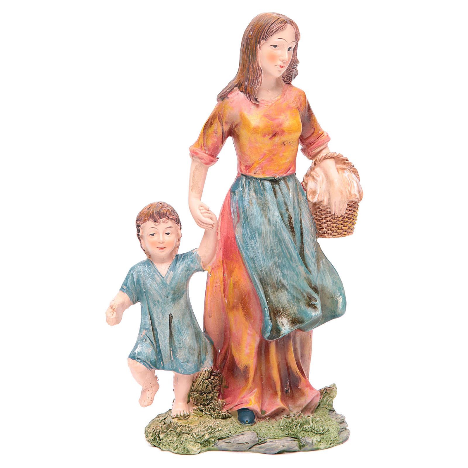 Donna con bambino 21 cm presepe resina 3