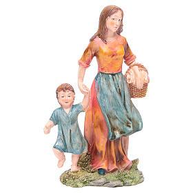 Donna con bambino 21 cm presepe resina s1