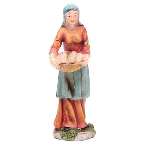 Donna con cesto 21 cm presepe resina 1