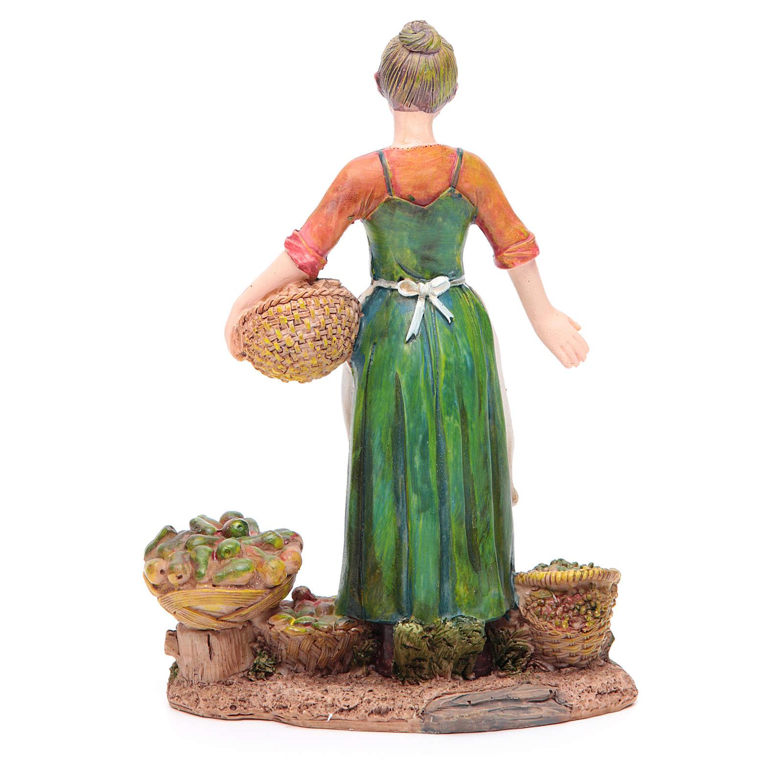 Femme avec fruits et légumes 21 cm crèche résine 3