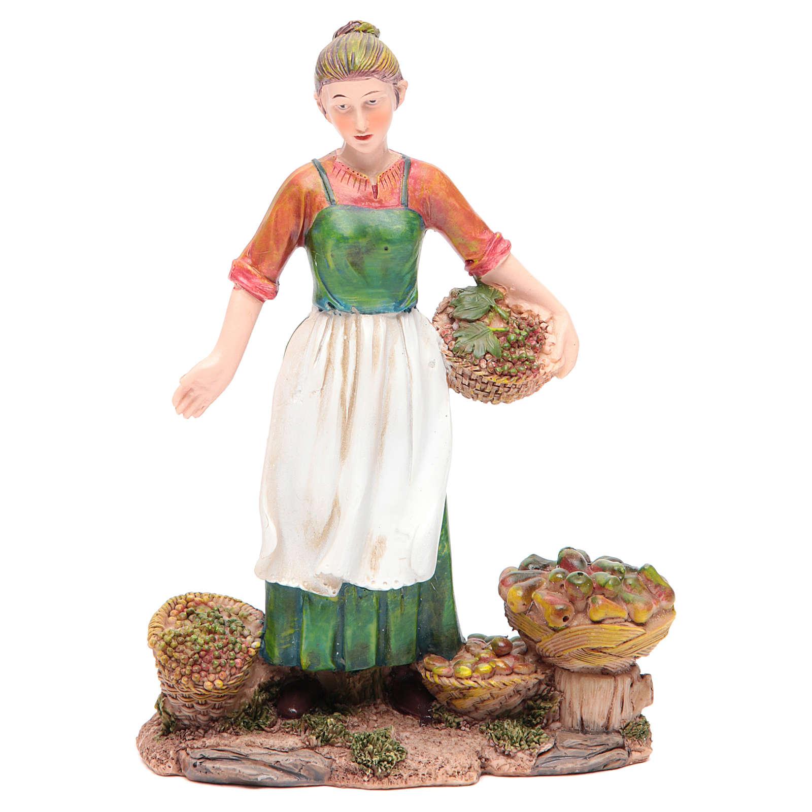 Donna con frutta e verdura 21 cm presepe resina 3