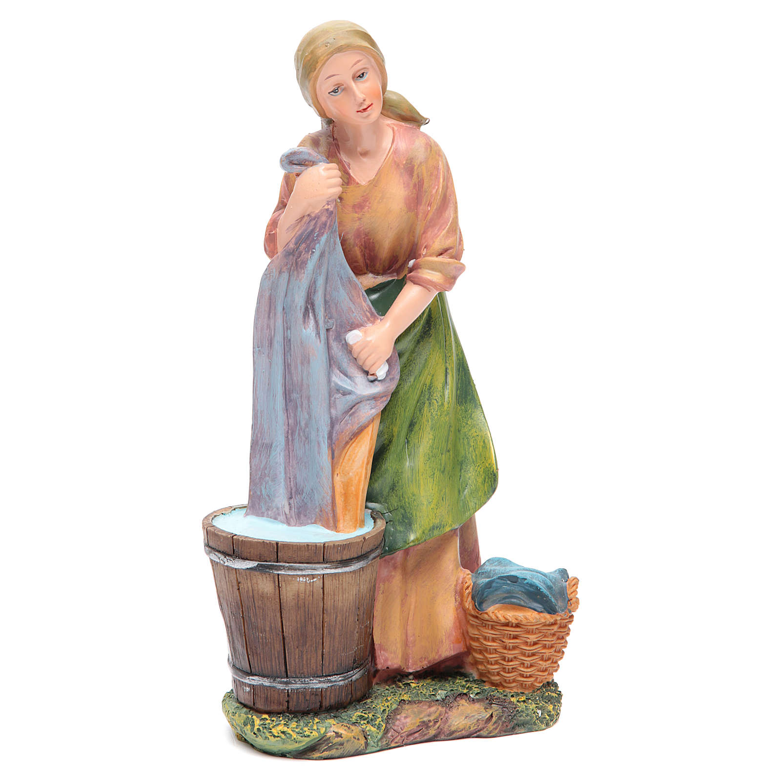 Donna lava panni 30 cm presepe resina 3