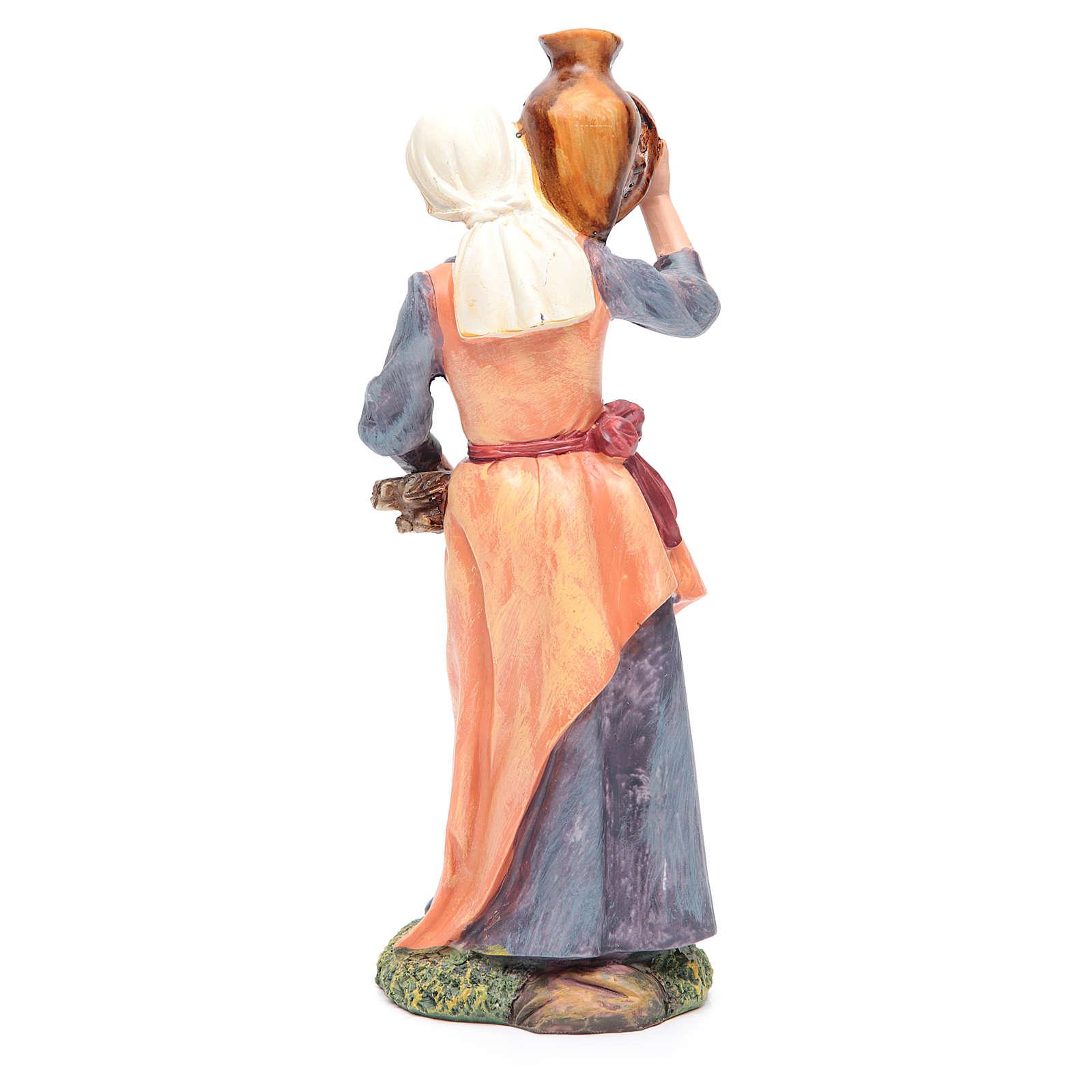 Femme avec jarre et fagot bois 30 cm 3