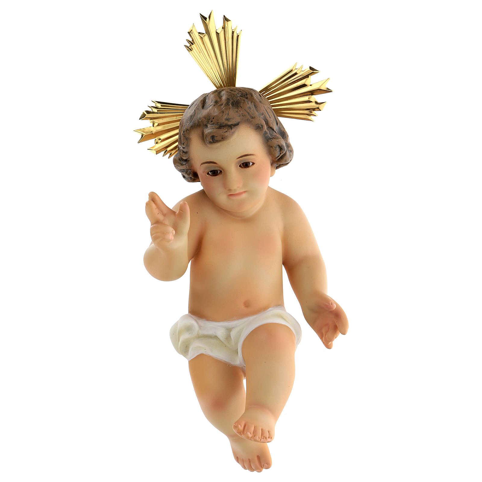Gesù bambino legno benedicente vestina bianca dec. elegante 3