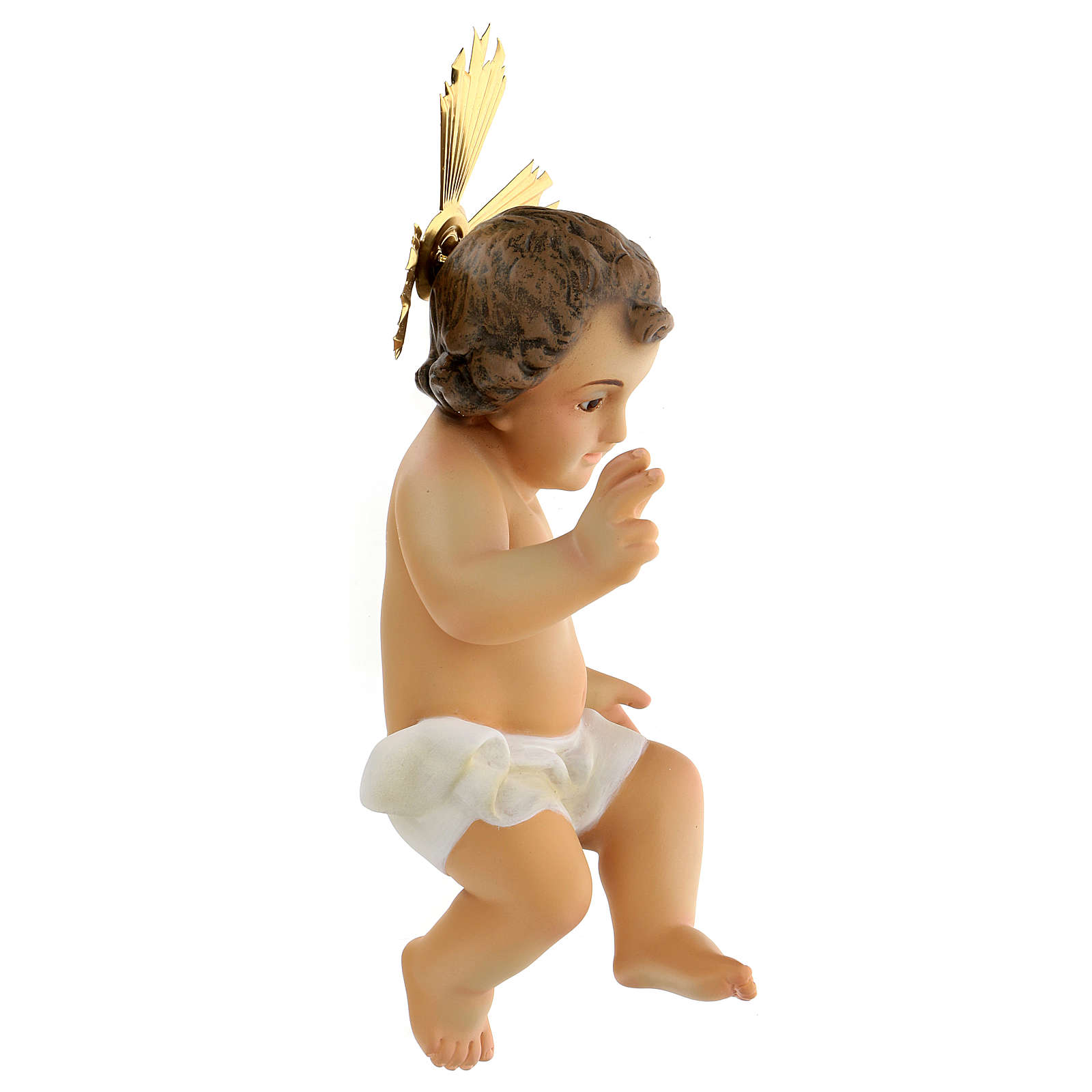 Baby Jesus figurine, in wood paste with ivory color dress 3