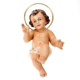 Baby Jesus figurine, in wood paste with ivory color dress s2