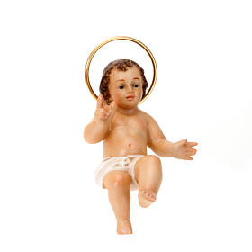 Baby Jesus figurine, in wood paste with ivory color dress s3