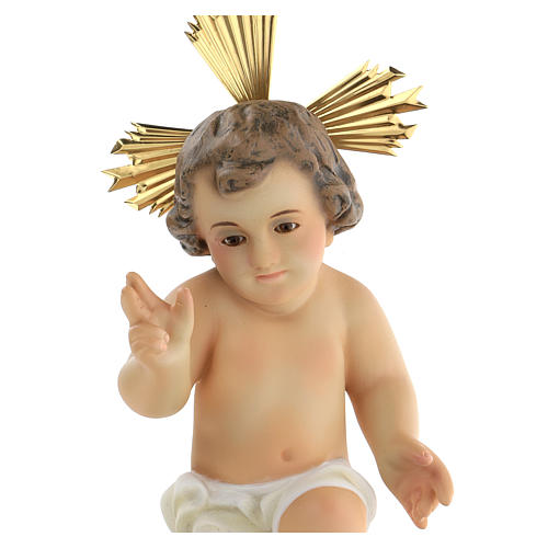Baby Jesus figurine, in wood paste with ivory color dress 2