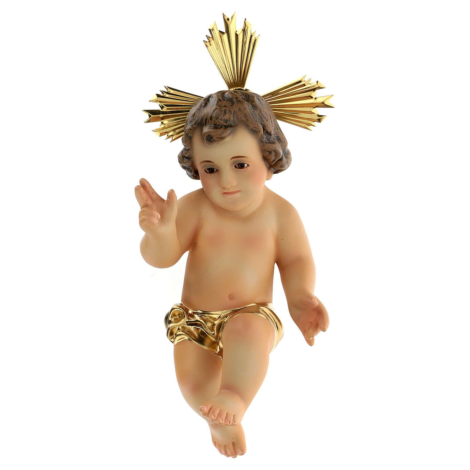 Jésus enfant, bénédiction, bois, robe dor&e 3