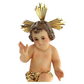 Jésus enfant, bénédiction, bois, robe dor&e s2