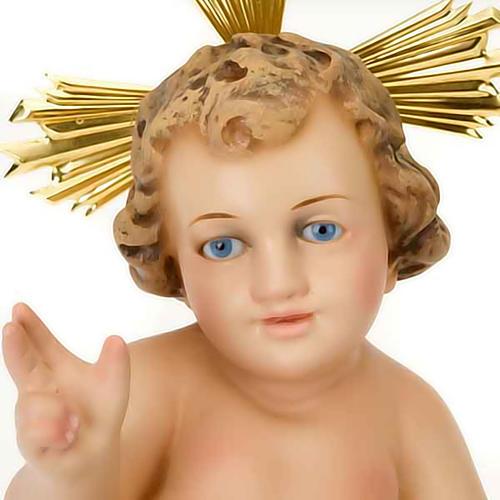Jésus enfant, bénédiction, bois, robe dor&e 4