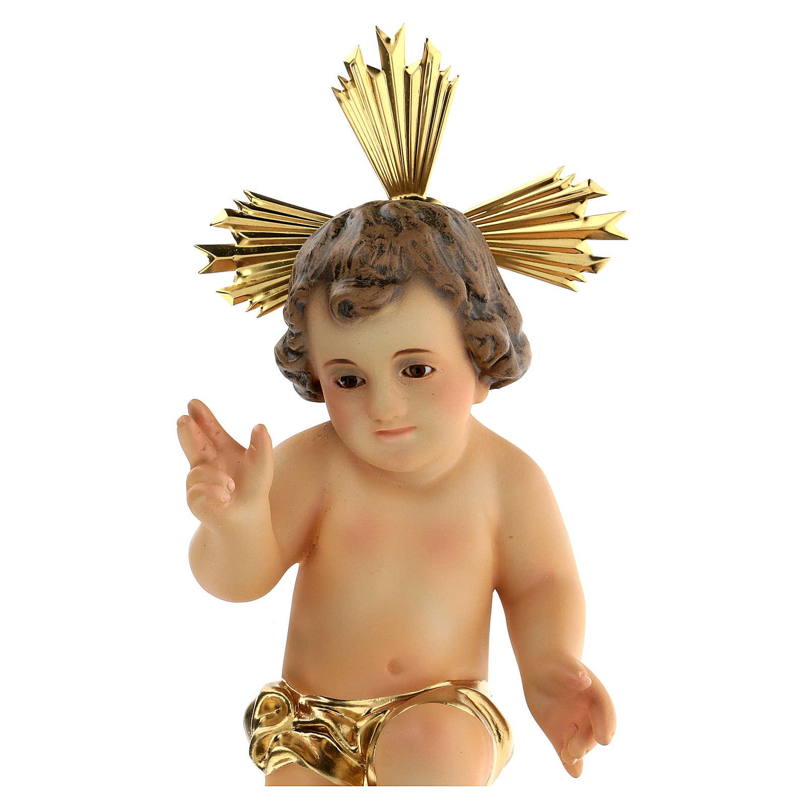 Gesù Bambino pasta legno benedicente vestina dorata dec. elegan 3
