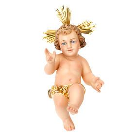 Gesù Bambino pasta legno benedicente vestina dorata dec. elegan s1