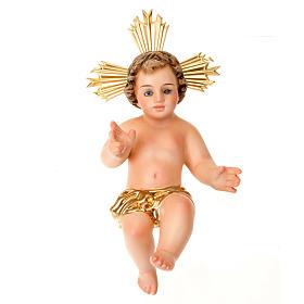 Gesù Bambino pasta legno benedicente vestina dorata dec. elegan s2