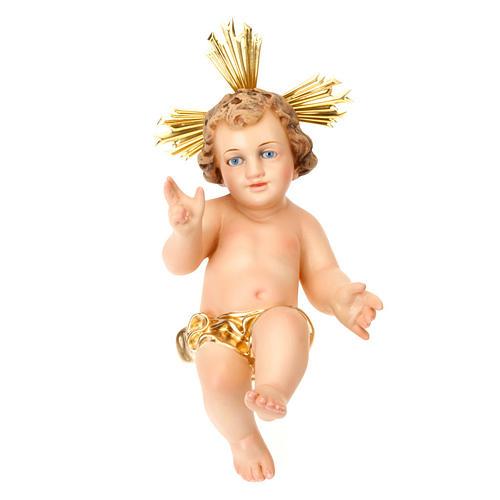 Gesù Bambino pasta legno benedicente vestina dorata dec. elegan 1