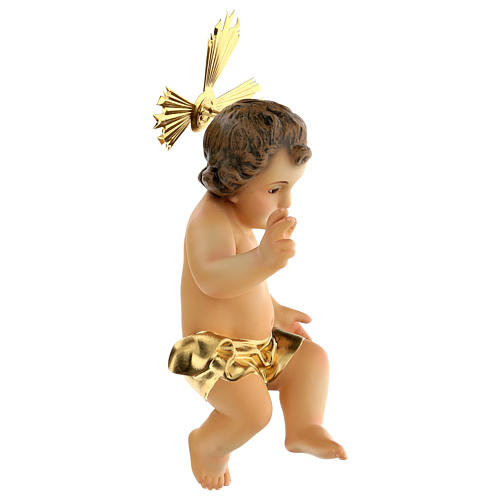 Gesù Bambino pasta legno benedicente vestina dorata dec. elegan 4