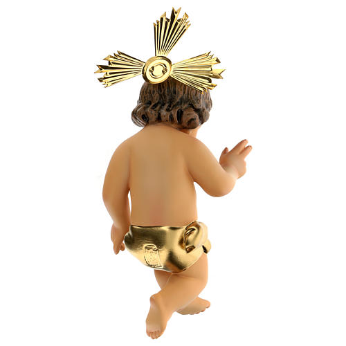 Gesù Bambino pasta legno benedicente vestina dorata dec. elegan 5