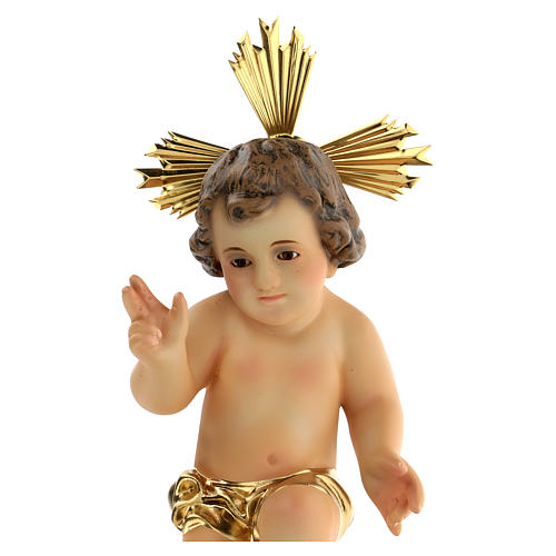 Menino Jesus pasta madeira abençoando pano dourado acab. elegante 2