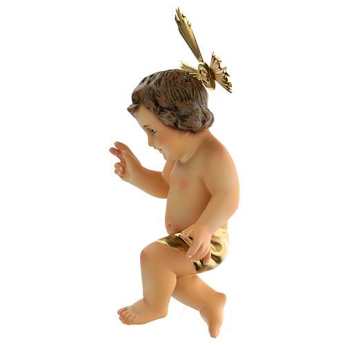 Menino Jesus pasta madeira abençoando pano dourado acab. elegante 3