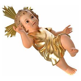 Gesù Bambino pasta legno veste dorata cm 35 dec. elegante s6