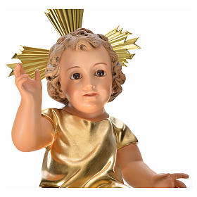 Gesù Bambino pasta legno veste dorata cm 35 dec. elegante s7