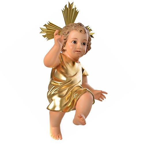 Gesù Bambino pasta legno veste dorata cm 35 dec. elegante 1